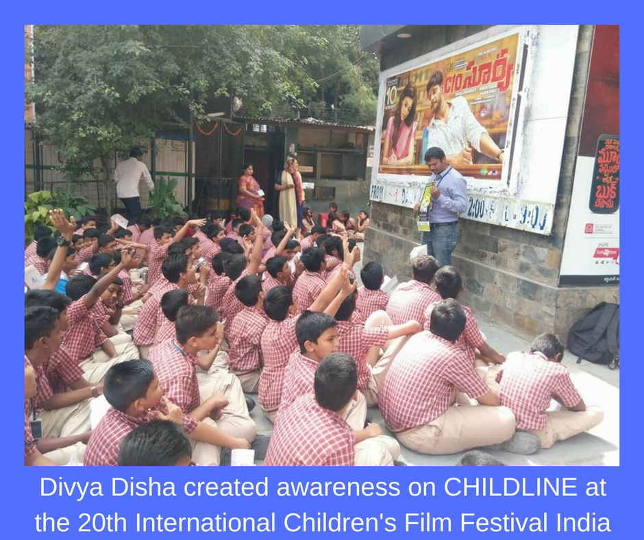 Awareness on CHILDLINE at the 20th International Children's Film Festival India